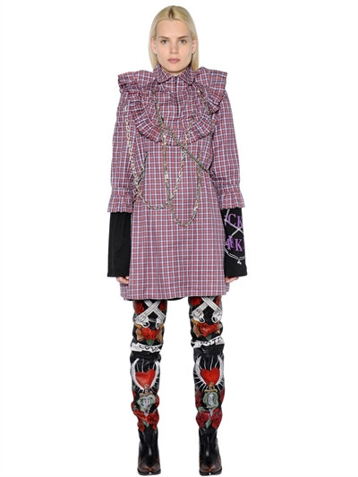 Printed Cotton Shirt Dress With Chain Embellishments in Multicoloured