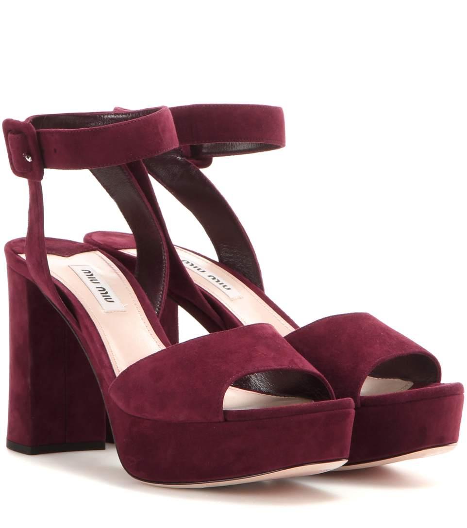Suede Ankle-Strap Platform Sandals in Amaraeto