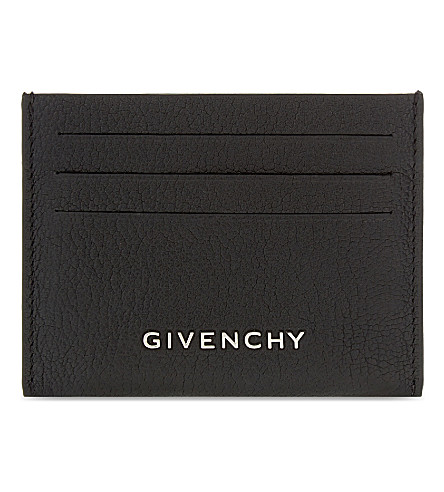 Grained Leather Card Holder, Black