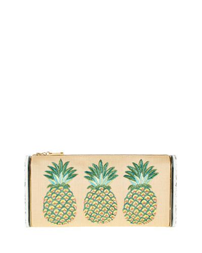 Jumbo Lara Pineapple Embroidered Raffia And Acrylic Box Clutch in Neutrals