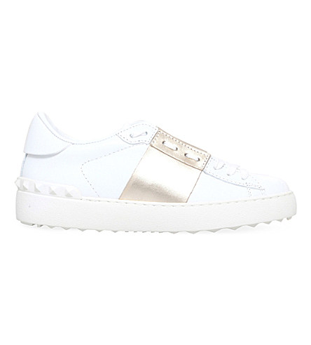 Open Leather Sneakers With Patent Band, White/Beige, White/Comb