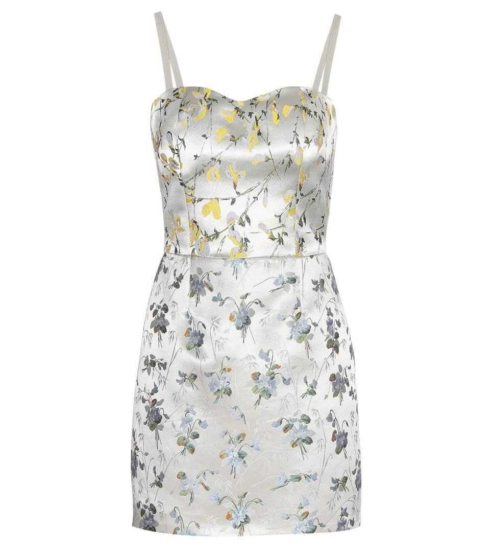 ALEXANDER MCQUEEN Floral-Jacquard Satin Mini Dress in Ivory Mix