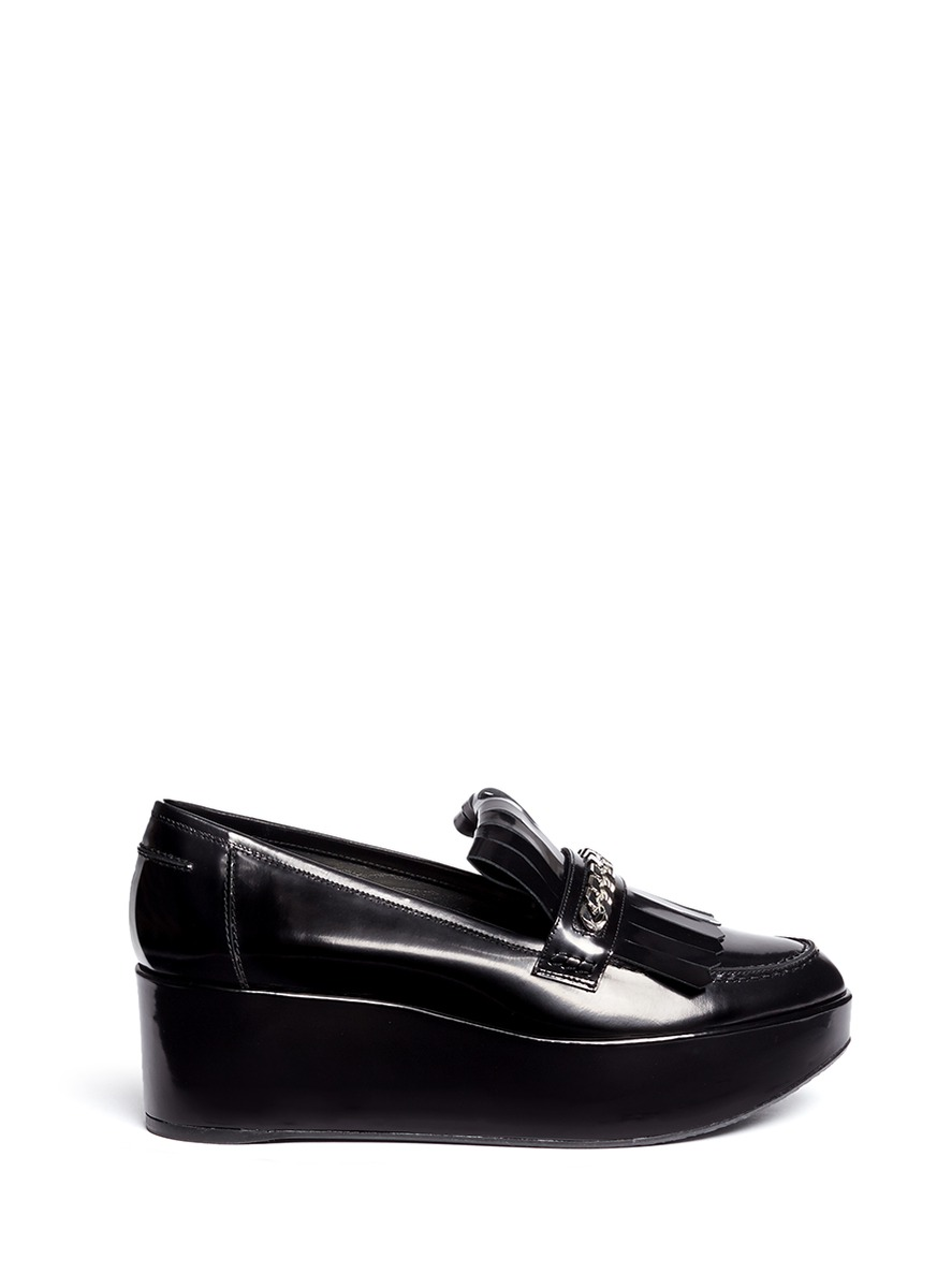 Stuart Weitzman Leather Platform Loafers