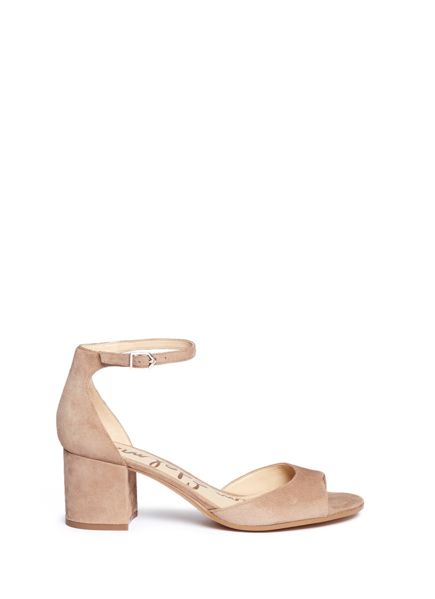 6c053852c5ad18 SAM EDELMAN  Susie  Block Heel Ankle Strap Suede Sandals