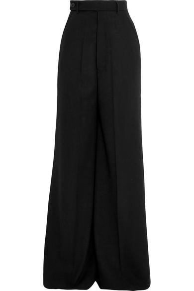Woman Faille Wide-Leg Pants Black