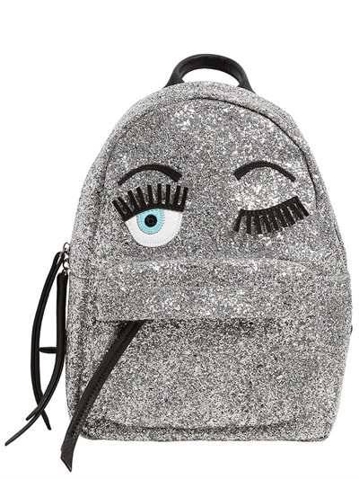 Flirting Eyes Glitter Mini Backpack, Silver