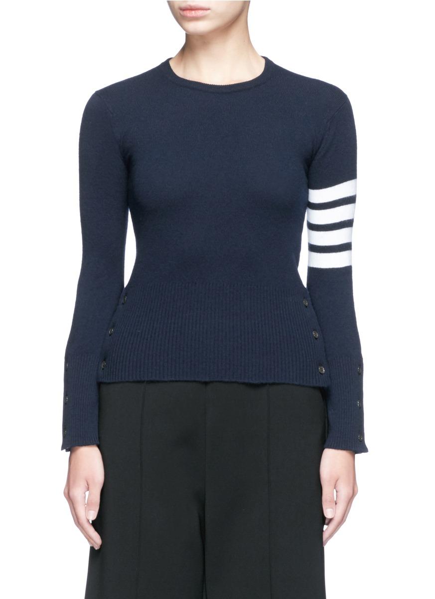 Stripe Sleeve Button Cashmere Sweater, Blue