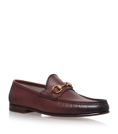 Roos Horsebit Burnished-Leather Loafers, Brown Leather