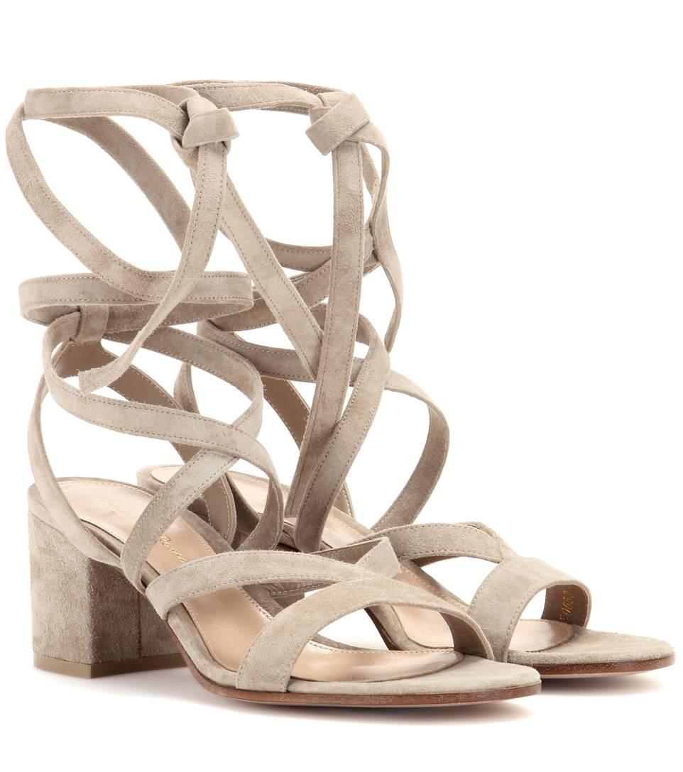 Janis Low Suede Sandals, Beige