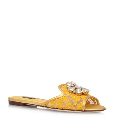 'Bianca R' Jewelled Taormina Lace Slippers, Yellow