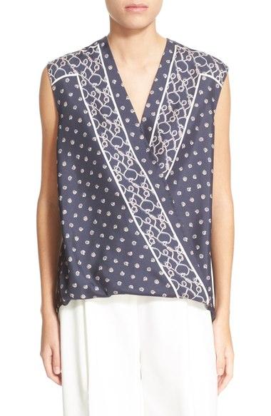 dcd9ee4f0b3 Border Print Drape Front Sleeveless Silk Blouse In Phantom Blue ...