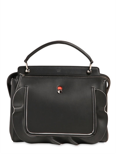 Dotcom Medium Wave Leather Satchel Bag, Black/Orange