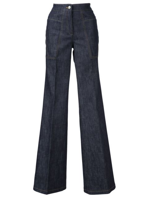 DEREK LAM High-Waist Wide-Leg Denim Trousers, Indigo in Blue