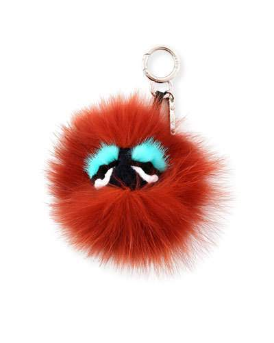 Fendi Blueminous Mini Bag Bugs Charm for Handbag, Dark Red/Turquoise/Black