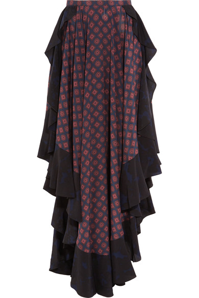 LANVIN Asymmetric Ruffled Printed Silk Maxi Skirt, Blue