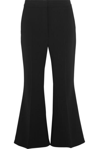 Angela Cropped Wool-Blend Crepe Flared Pants, Black