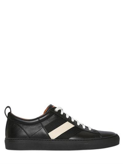 Webbing Stripe Leather Sneakers, Black