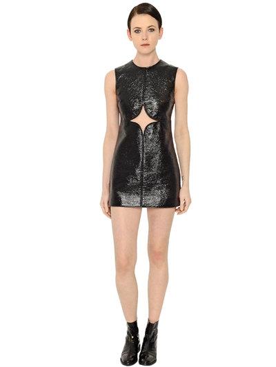 COURRÈGES Vinyl & Cotton Dress W/Cut Out, Black