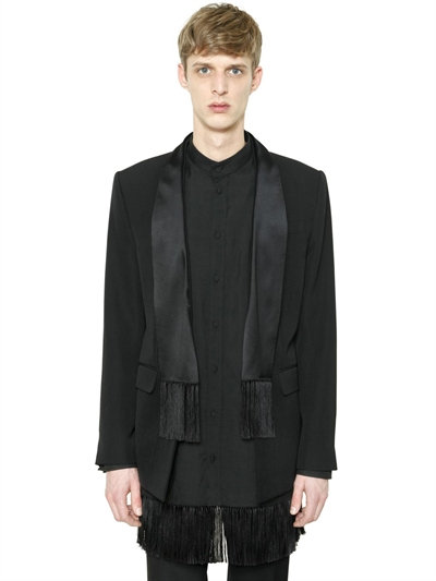 Silk Satin Scarf Grain De Poudre Jacket, Black
