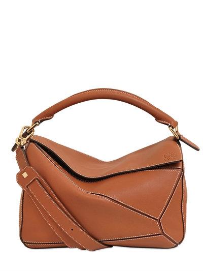 Medium Puzzle Leather Shoulder Bag - Beige, Tan
