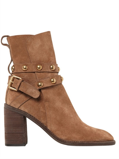 Cheap Footlocker Pictures Low Price Fee Shipping Chloé Women's Janis Suede Studded Strap High-Heel Booties - 100% Exclusive EvAD2rSo2