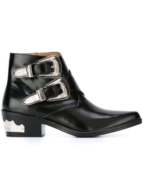Double Buckle Leather Ankle Boots in Black