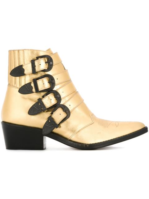 TOGA 50Mm Metallic Leather Boots W/ Buckles