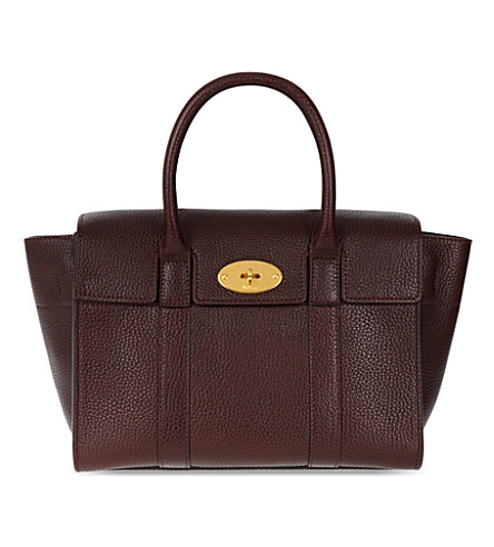Bayswater Small Grained Leather Tote, Oxblood