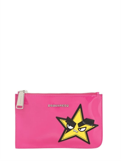 Small Hand Patch Patent Leather Pouch, Fuchsia
