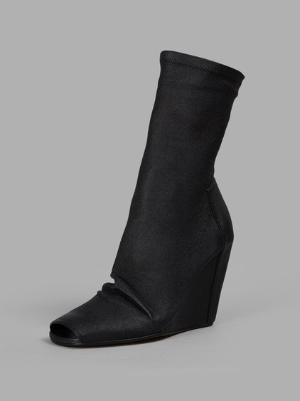 Peep-Toe Leather Wedge Boots in Black