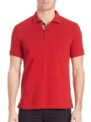 BURBERRY Short-Sleeve Oxford Polo Shirt, Military Red