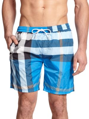 f25697850b123 BURBERRY MID-LENGTH CHECK SWIM TRUNKS, CERULEAN BLUE | ModeSens
