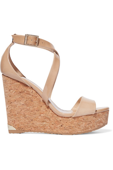 Portia 120 Nude Patent Leather Cork Wedges in Beige