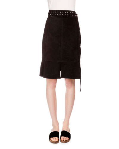 Fluted Studded Suede Skirt in Black