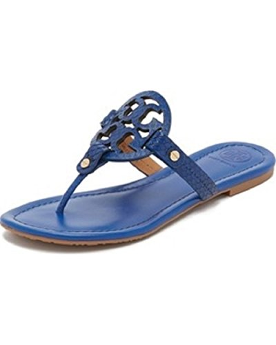a5582477a1ffb ... Tory Burch Miller Hudson Blue Snake Print Flat Sandals clearance prices  a7b52 1f961 ...