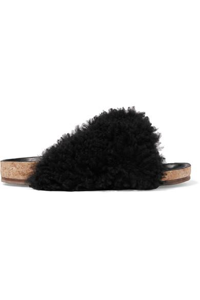 'Kerenn' Merinillo Shearling Cork Platform Slide Sandals in Black