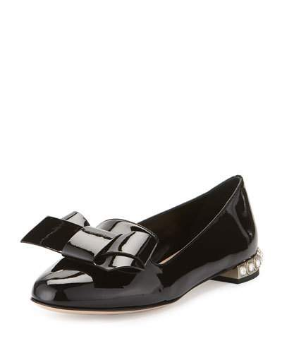 Miu Miu Jewel Heel Smoking Slipper (Women) In Black  bedbb9a0de3d