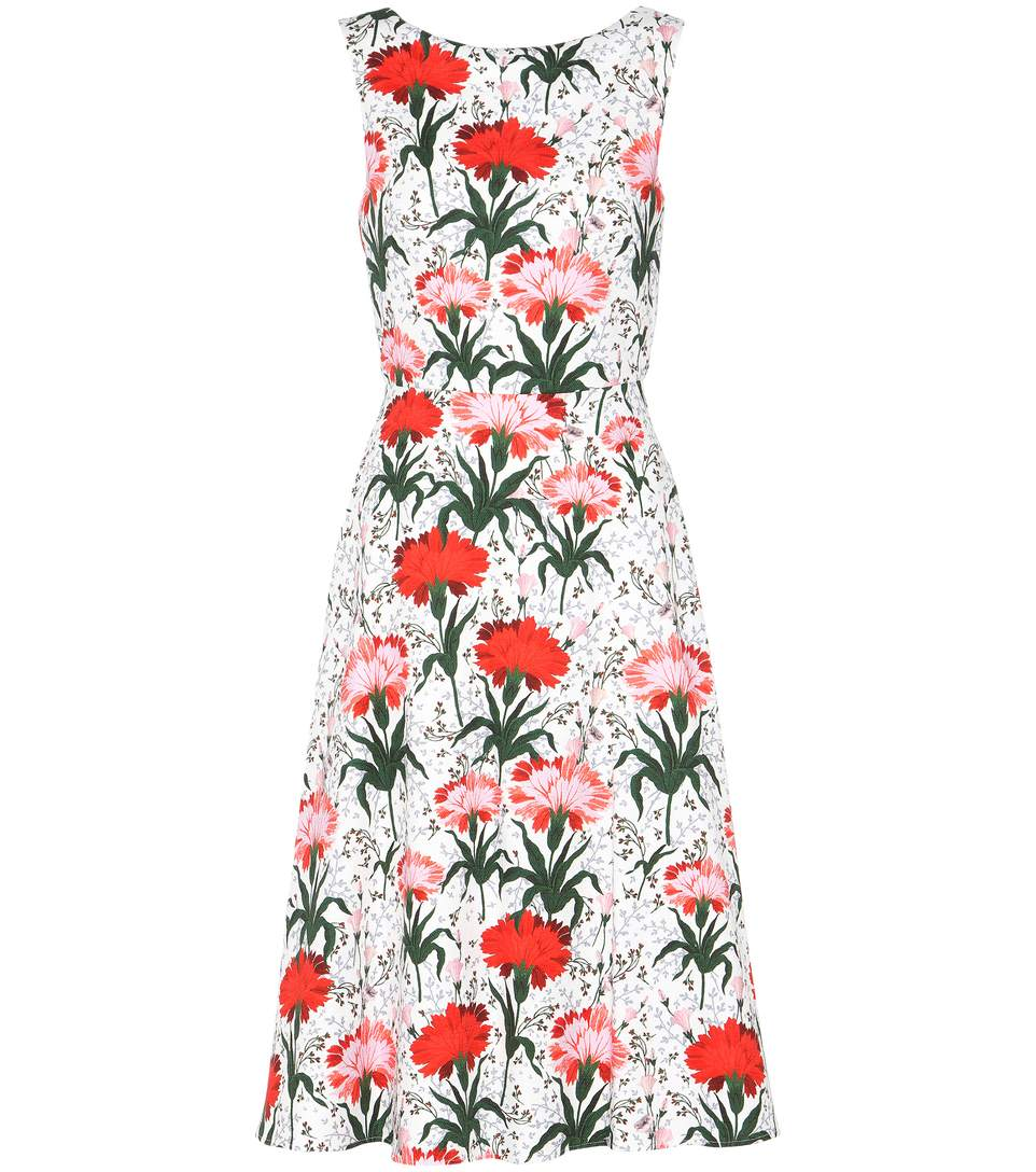 ERDEM Maia Floral-Print Cotton-Blend Piqué Dress in White/Red
