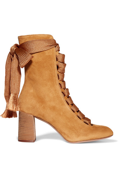 Harper Lace-Up Suede Ankle Boots in Spicy Yellow