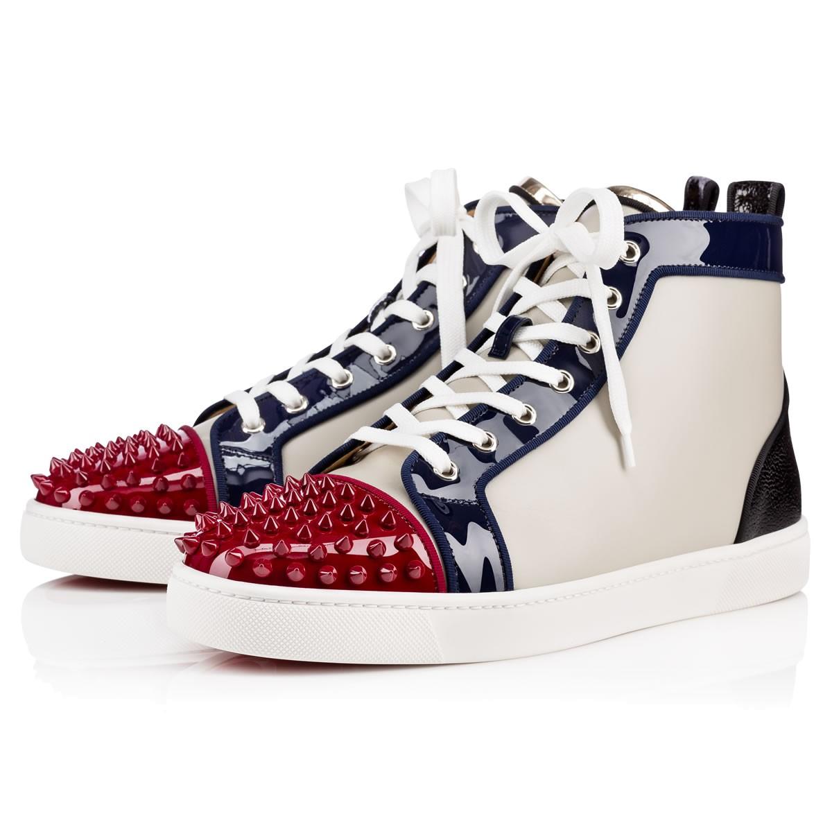 ... switzerland christian louboutin lou spikes patent calf caviar  multicolor calfskin men shoes 7801d 6833f