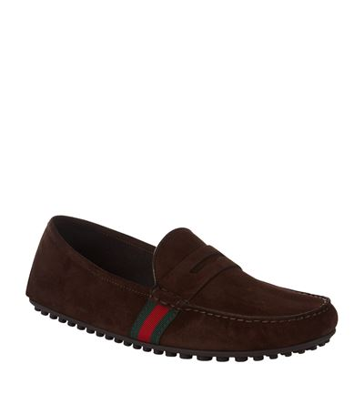 Web Trim Penny Loafers, Brown