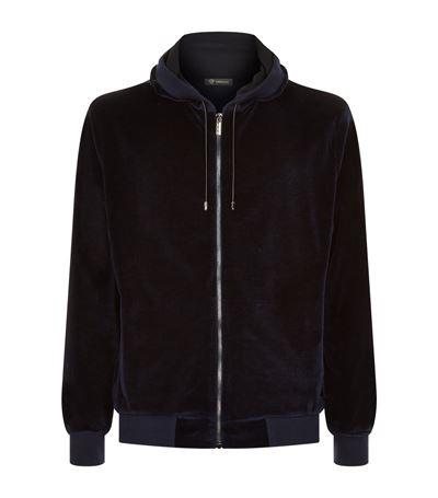 Men'S Embossed-Logo Chenille Zip-Front Hoodie in Black