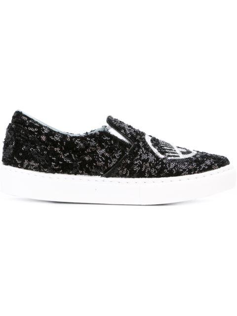 30Mm Flirting Eyes Slip-On Sneakers in Black