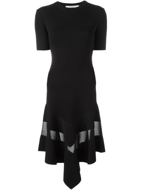 Givenchy Woman Organza-paneled Dress In Black Ribbed-knit Black Size XS Givenchy Exclusive Cheap Sale Supply Cheap Authentic Outlet Low Cost Explore Sale Online 15kz3Ut