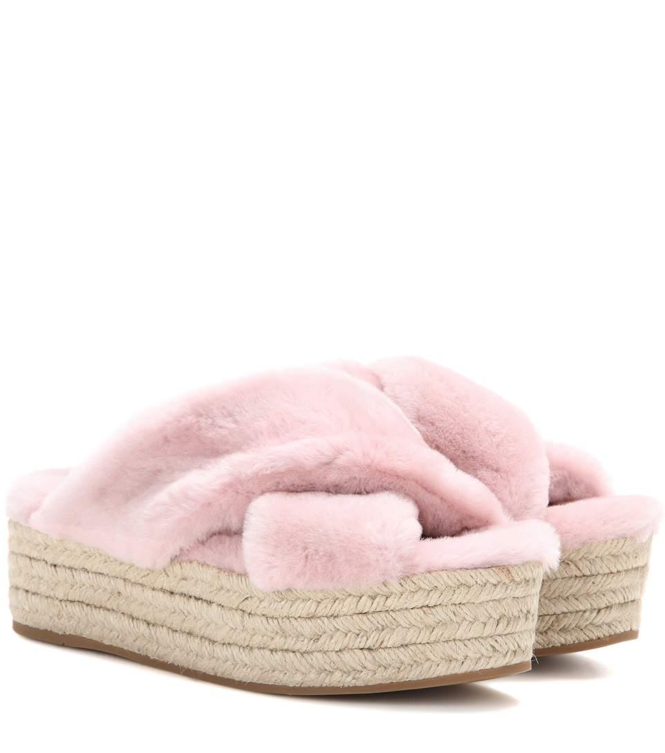c001b0b0996037 Miu Miu Faux Fur Platform Espadrille Sandals In Mughetto