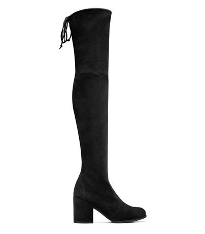 70Mm Tieland Stretch Suede Boots, Black Suede