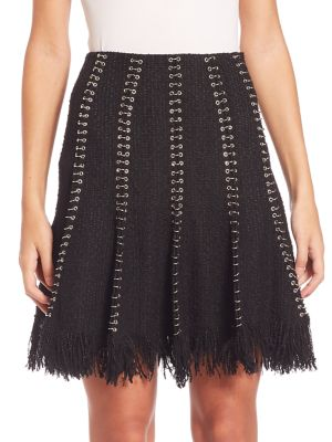 Embellished Skirt With Cotton And Virgin Wool in Black