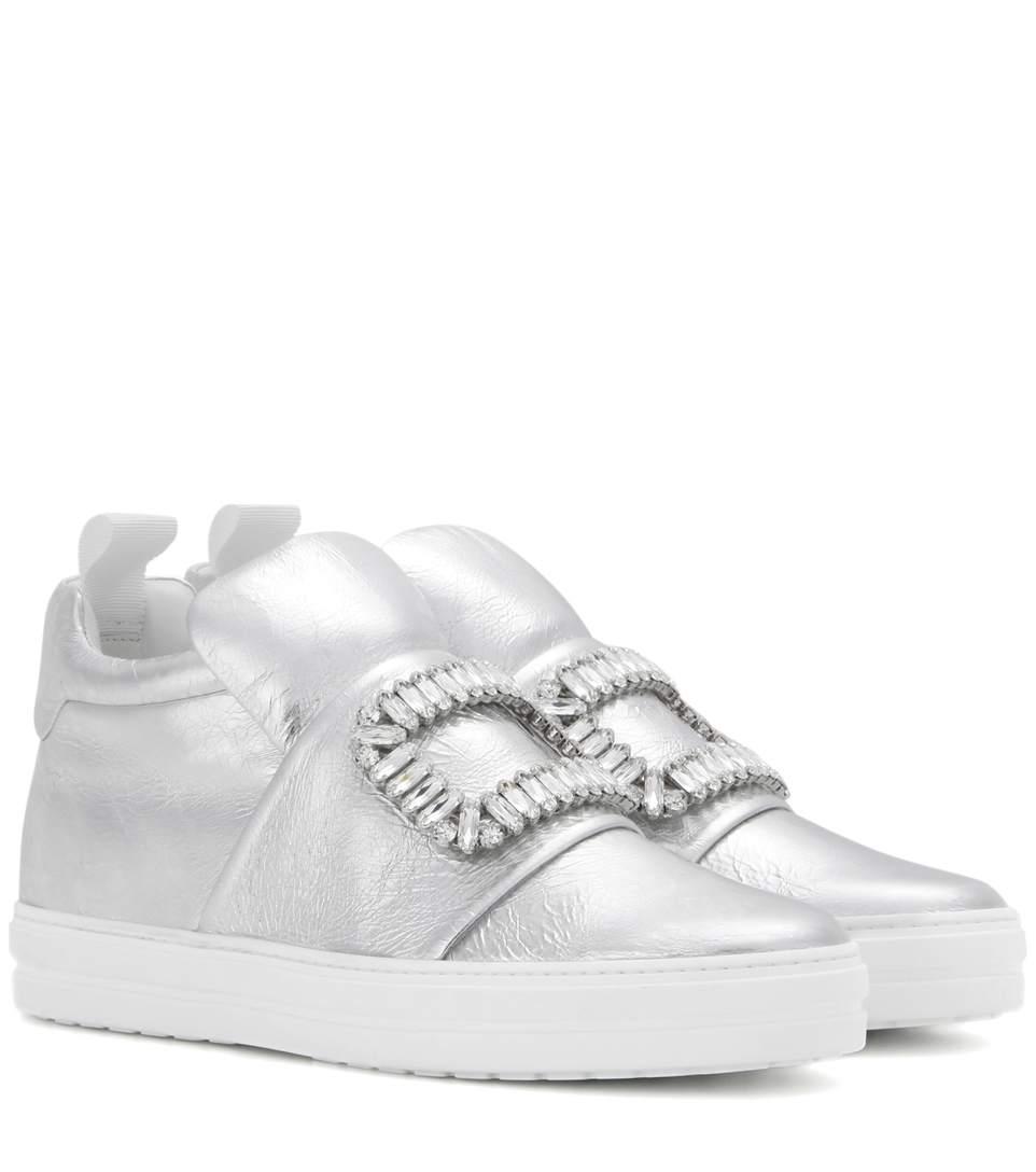 Sneaky Viv Crystal-embellished Metallic Leather Slip-on Sneakers - Silver Roger Vivier WT99FAqK