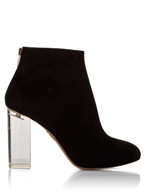 Alba Suede Ankle Boots, Black from CHARLOTTE OLYMPIA