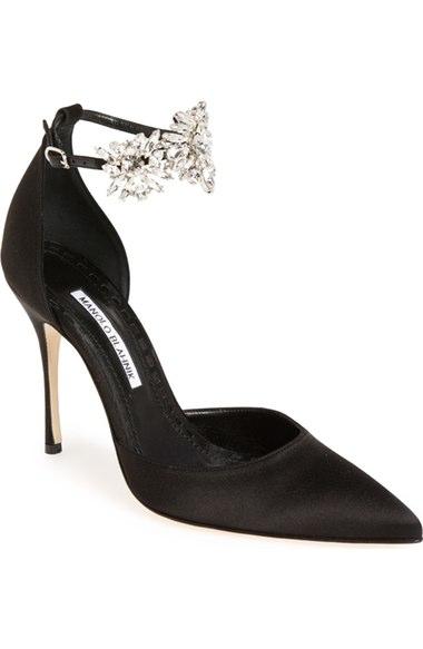 MANOLO BLAHNIK Sicariata Jewel-Strap D'Orsay Pump, Black, Black Satin